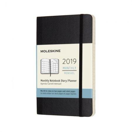 DSB12MN2Y19 MOLESKINE 12M MONTHLY POCKET BLACK SOFT COVER