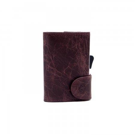 C-SECURE RFID Vintage Leather Coin-Wallet Darkbrown/ Silver Card holder