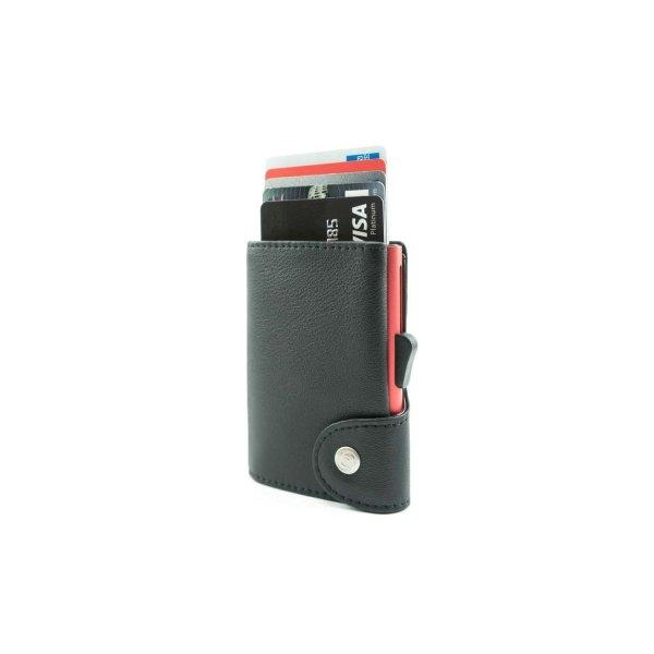 C-SECURE RFID Classic Leather Wallet Nero Black/ Coral Red Card holder