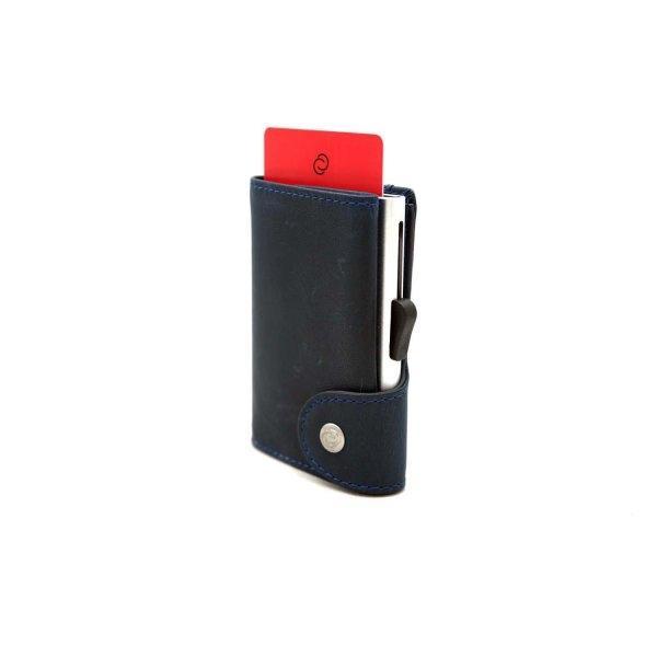 C-SECURE RFID Prestige Leather Wallet Naval/ Silver Card holder