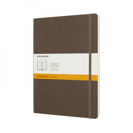 MOLESKINE NOTEBOOK XL RULED SOFT COVER EARTH BROWN QP621P14