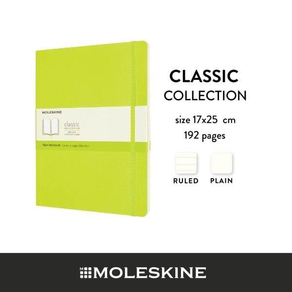 Moleskine สมุดบันทึก ปกอ่อน สีเขียวมะนาว ขนาดใหญ่พิเศษ 19x25 ซม MOLESKINE NOTEBOOK XL SOFT COVER L.GREEN 19X25 CM