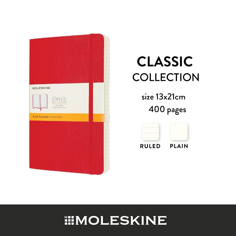 Moleskine สมุดบันทึก ปกอ่อน สีแดง ขนาดใหญ่ แบบหนา 13x21 ซม MOLESKINE NOTEBOOK EXPANDED LARGE SOFT COVER S.RED 13X21 CM