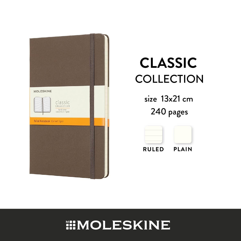 Moleskine สมุดบันทึก ปกแข็ง สีน้ำตาล ขนาดใหญ่ 13x21 ซม MOLESKINE NOTEBOOK LARGE HARD COVER E.BROWN 13X21 CM