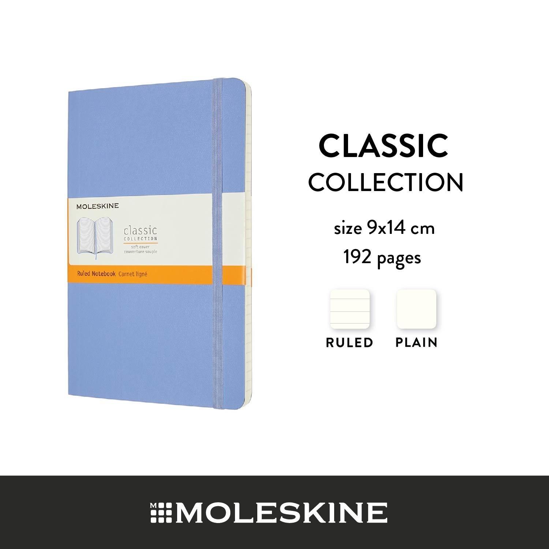 Moleskine สมุดบันทึก ปกอ่อน สีฟ้าไฮเดรนเยีย ขนาดเล็ก 9x14 ซม MOLESKINE NOTEBOOK POCKET SOFT COVER H.BLUE 9X14 CM