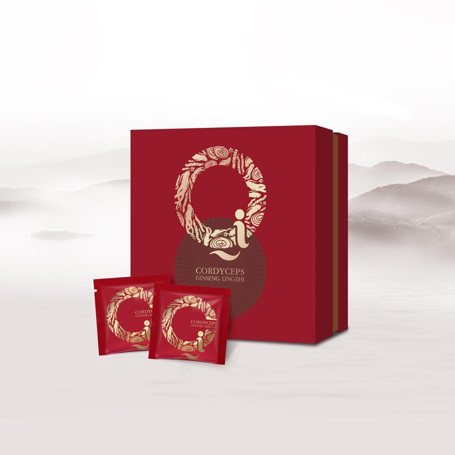 ถั่งเช่า โสม หลินจือ(ผลิตภัณฑ์เสริมอาหาร) (ตราชี่) กล่อง 30 ซอง