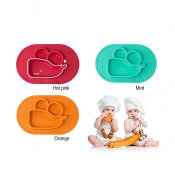 Momma placemat ถาดทานอาหารสำหรับเด็ก จานดูดซิลิโคนสีส้ม MLP001 => 003