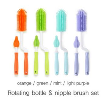 แปรงล้างขวดนมซิลิโคน Mathos Loreley (Silicone rotate bottle brush & nipple brush set Orange)