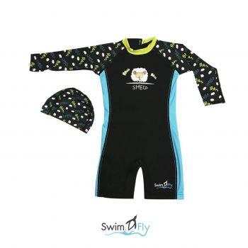 ชุดว่ายน้ำ SwimFly แบบแขนยาวพร้อมหมวกว่ายน้ำ รุ่น Spirit สำหรับเด็ก 6เดือน - 8 ขวบ สีดำ ลายแกะ (Sheep)