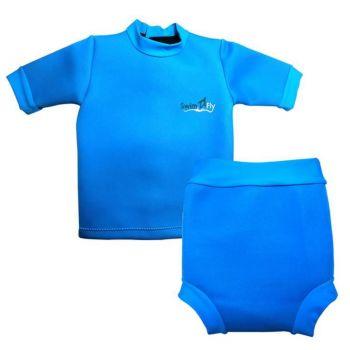 ชุดว่ายน้ำกันหนาว SwimFly  สำหรับเด็ก 6 เดือน - 3 ปี สีฟ้า