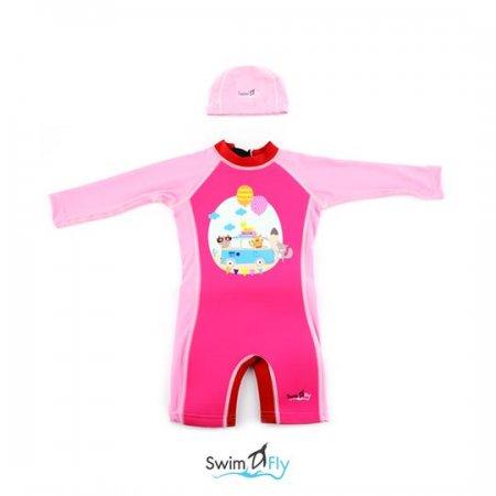 ชุดว่ายน้ำ SwimFly แบบแขนยาวพร้อมหมวกว่ายน้ำ รุ่น Spirit สำหรับเด็ก 6เดือน - 8ขวบ สีชมพู ลายรถบัส (Bus)