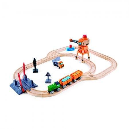 ของเล่นไม้ Hape Crossing & Crane Set ชุดเครนใหญ่และทางข้ามรถไฟ[DS]