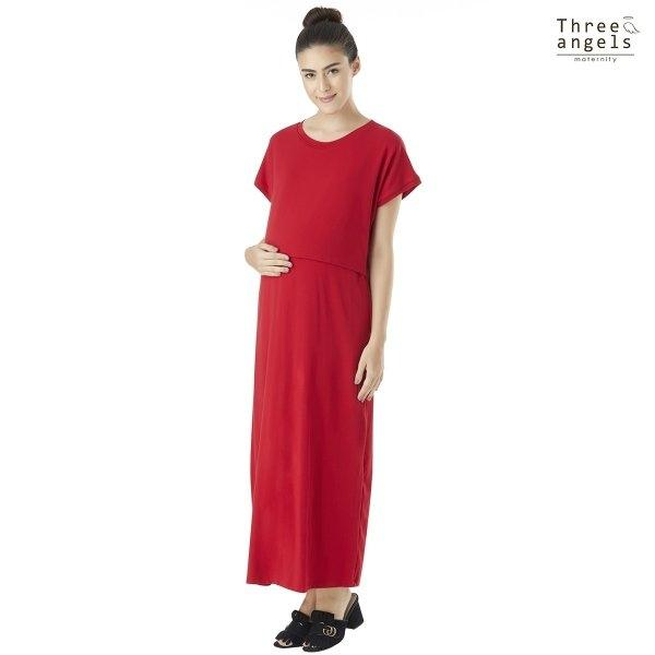 ThreeAngel MATERNITY DRESS แบบยาวเรียบ [DS]