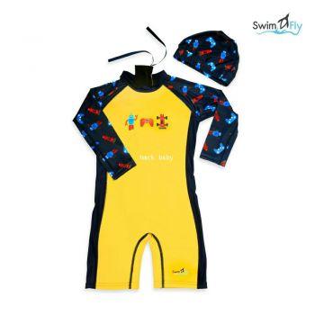 ชุดว่ายน้ำ SwimFly แบบแขนยาวพร้อมหมวกว่ายน้ำ รุ่น Spirit สำหรับเด็ก 6เดือน - 8ขวบ ลายหุ่นยนต์ (Robot)
