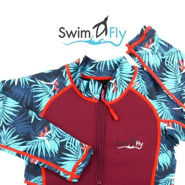 ชุดว่ายน้ำ SWIMFLY รุ่น Tropical Collection ลายใบไม้ - สีแดง Size 8-14