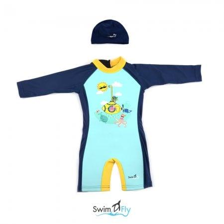 ชุดว่ายน้ำ SwimFly แบบแขนยาวพร้อมหมวกว่ายน้ำ รุ่น Spirit สำหรับเด็ก 6เดือน - 8ขวบ สีน้ำเงิน ลายเรือดำน้ำ (Submarine)