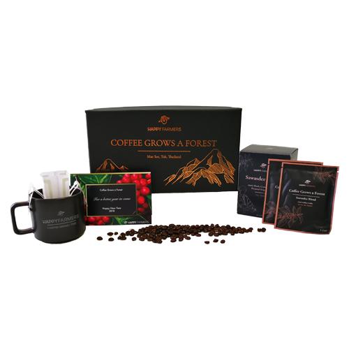 B1 ชุดกาแฟอินทรีย์ดริป HappyFarmers พร้อมแก้วกาแฟเซรามิก B1 HappyFarmers 'Coffee Grows a Forest' Gift Set – Instant Drip Coffee with a Coffee Mug