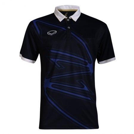 เสื้อกีฬาแกรนด์สปอร์ตแบดมินตัน/ เทนนิส คอปกพิมพ์ลาย   (สีกรม) รหัส:072032