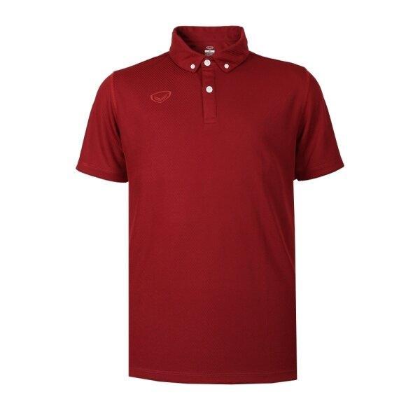 เสื้อโปโลชายสีล้วนทอลาย รหัส : 012253 (สีแดง)