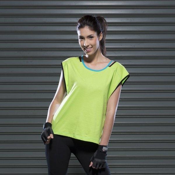 เสื้อคอปาดทรงหลวม (สีเขียว) รหัส : 028345