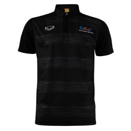 เสื้อโปโลวอลเลย์บอลพิมพ์ลาย ปักAVC (สีดำ) รหัส:023133