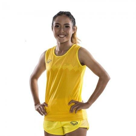 เสื้อวิ่งหญิงพิมพ์ลาย รหัสสินค้า : 017134 (สีเหลือง)
