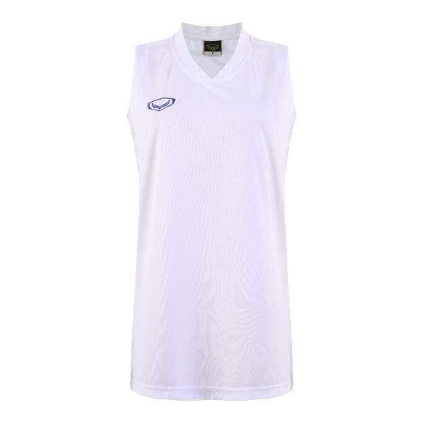 เสื้อบาสเกตบอลหญิงตัดต่อพิมพ์ลายแกรนด์สปอร์ต รหัสสินค้า :013161 (สีขาว)