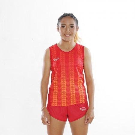 เสื้อวิ่งหญิงแขนกุดพิมพ์ลาย (สีแดง) รหัส :017132