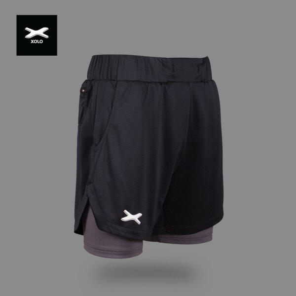 XOLO 2 in 1 Running Shorts Ultra-lighteweight  Code : 039014  (Black)