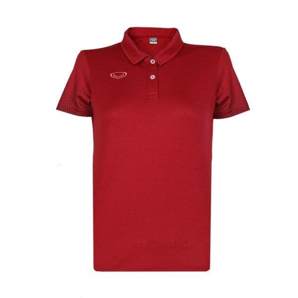เสื้อโปโลหญิงพิมพ์แขน แกรนด์สปอร์ต รหัส : 012784 (สีแดง)