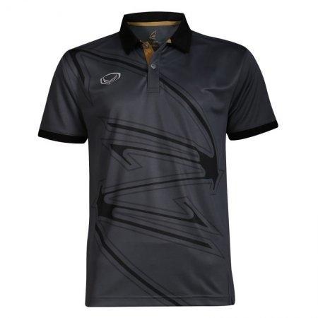 เสื้อกีฬาแกรนด์สปอร์ต แบดมินตัน/ เทนนิส คอปกพิมพ์ลาย   (สีเทา) รหัส:072032