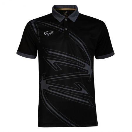 เสื้อกีฬาแบดมินตัน/ เทนนิส คอปกพิมพ์ลาย   (สีดำ) รหัส:072032
