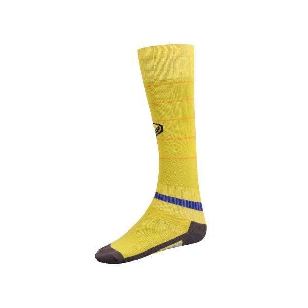 ถุงเท้ากีฬาฟุตบอลทอลาย  รหัส : 025134 (สีเหลือง)