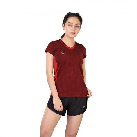 เสื้อแอโรบิกคอวี รหัสสินค้า:028376(สีแดง)
