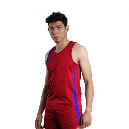 เสื้อวิ่งชายตัดต่อ (สีแดง) รหัส :017129