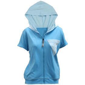 เสื้อคลุมแขนสั้นมีฮู้ด (สีฟ้า) รหัส :028854