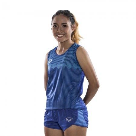 เสื้อวิ่งหญิงพิมพ์ลาย รหัสสินค้า : 017134 (สีน้ำเงิน)
