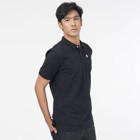 เสื้อโปโลแกรนด์สปอร์ตสีล้วน (สีดำ) รหัส :023162