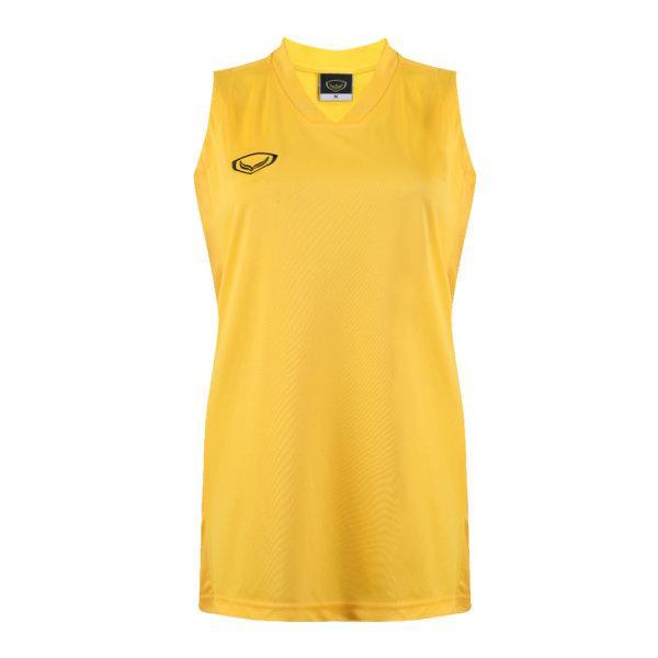 เสื้อบาสเกตบอลหญิงตัดต่อพิมพ์ลายแกรนด์สปอร์ต รหัสสินค้า :013161 (สีเหลือง)