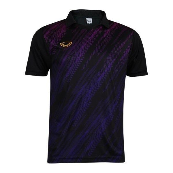 เสื้อกีฬาฟุตบอลคอปกพิมพ์ลาย แกรนด์สปอร์ต รหัส : 011558 (สีดำ)