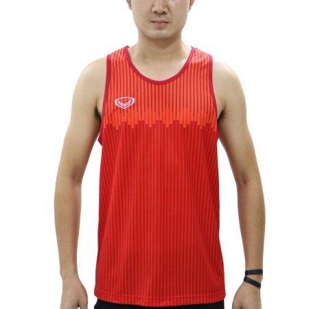 เสื้อวิ่งชายแขนกุดพิมพ์ลาย รหัสสินค้า : 017133 (สีแดง)