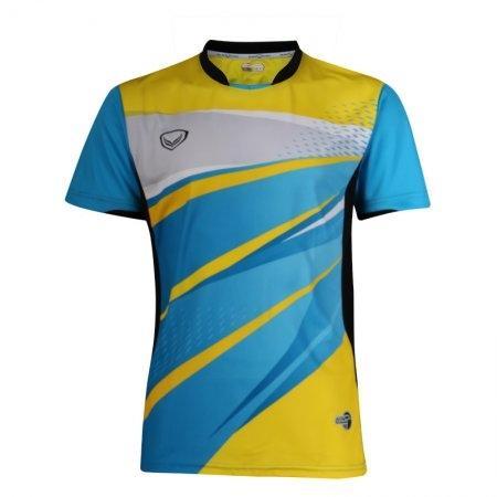 แกรนด์สปอร์ตเสื้อกีฬาคอปีนพิมพ์ลาย  รหัส: 072023 (สีฟ้าเหลือง)