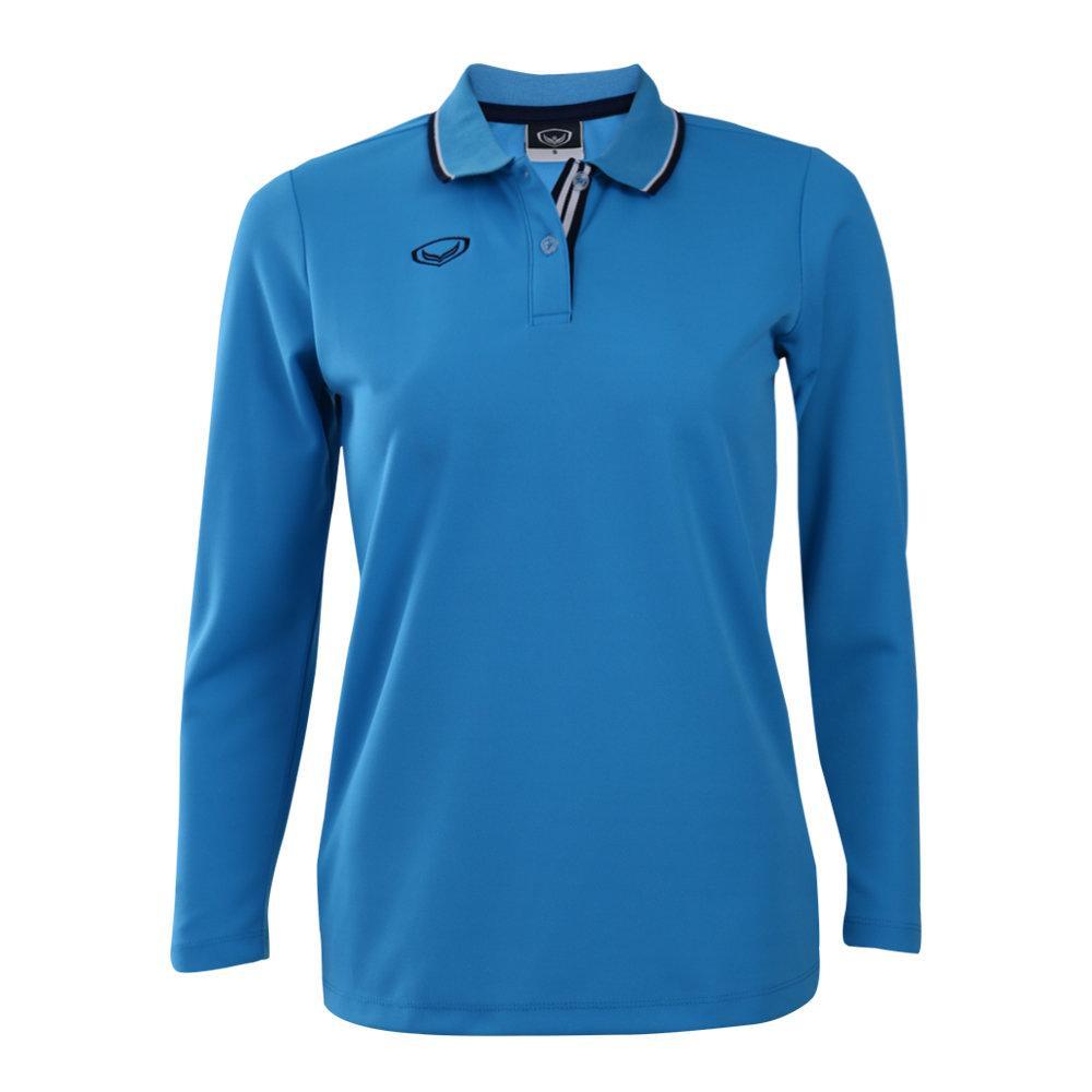 เสื้อโปโลหญิงแขนยาวแกรนด์สปอร์ต (สีฟ้า) รหัส:012779