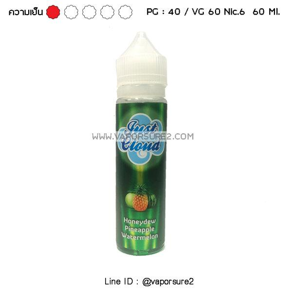 เย็น - Just Cloud เขียว Honeydew Pineapple Watermelon Nic.6 60 Ml. PG40/VG60