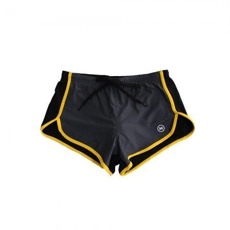 Swim Shorts: Grey/Black with Yellow Trim