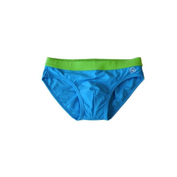 Swim Briefs: Blue and Green Waist Trim
