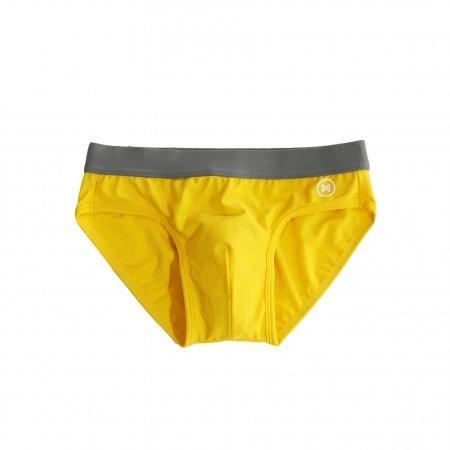Swim Briefs: Yellow/Taup Brown Trim