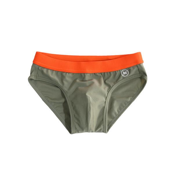 Swim Briefs: Taup Brown/Orange Trim