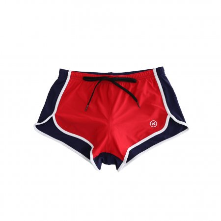 Swim Shorts: Red/Navy Blue with White Trim