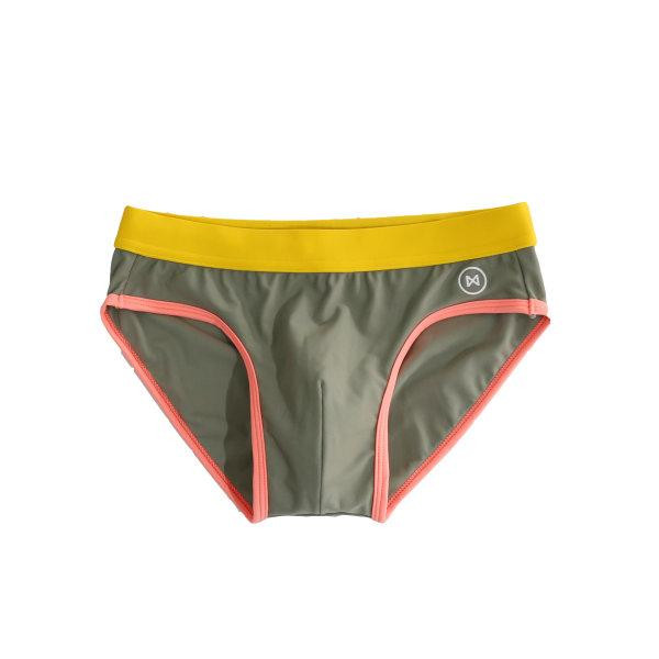 Swim Briefs: Taup Brown/Yellow & Pink Trim